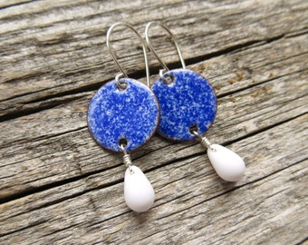Blue Enamel Earrings - Royal Blue Earrings with White Glass Drops