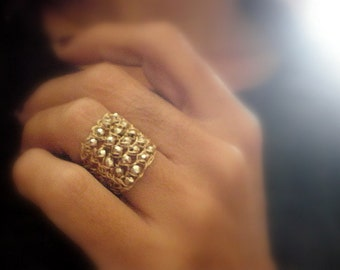 Crochet gold ring, Gold cotted luster pyrite and gold crochet ring, crochet gold filled wire ring- size made to order