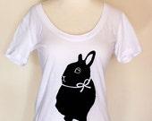 Happy Rabbit - Casual Cotton T Shirt - Original Bunny Print - White - M, L