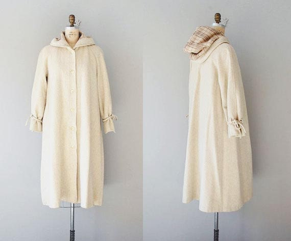 1970s coat / 70s wool hooded coat /  Flaxen Duster coat