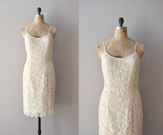 vintage lace dress / cream beaded dress / Shifted Light