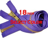 WHOLESALE ykk  zIPPERS-18 inches YKK Brass Metal Teeth Zipper Number 5 Separating Genuine YKK Jackets Zipper (Select Color)