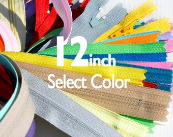 12 inchYKK Zippers Nylon Coil Skirt and Dress Closed Bottom - Each Color Ten Zippers - Select Color
