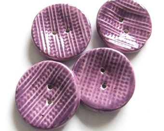 Large Round Deep Lilac Ceramic Clay Buttons x4, Handmade
