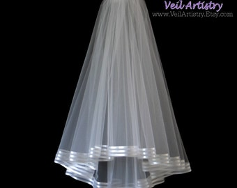 Bridal Veil, Radiance Veil, Fingertip Veil, 2-Tier Bridal Veil, Stripe Ribbon Edge Veil, White Veil, Made-to-Order Veil, Bespoke Veil