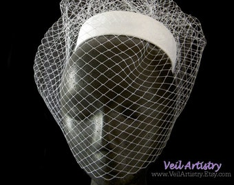 Bridal Hat, Birdcage Veil Hat, Pillbox Hat, Pillbox Hat Veil, Blusher Veil Hat, Vintage Look Hat & Veil, Made-To-Order Hat, Handmade Veil