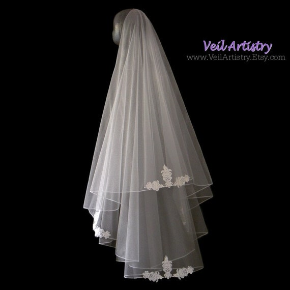 Wedding Veil, Simplicity Veil, Drop Veil, 2 Tier Veil, Delicate Embroidered Edge Veil, Lace Applique Veil, Made-to-Order Veil, Bespoke Veil