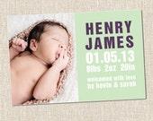 custom baby boy or girl photo birth announcement mint - HENRY mint