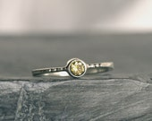 Silver ring Hand forged Sterling Silver ring  Stacking Ring with Green Peridot gemstone silver ring
