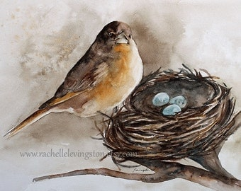 rustic decor nest PRINT painting of bird painting bird art print bird PRINT from original watercolor painting french country home wall h