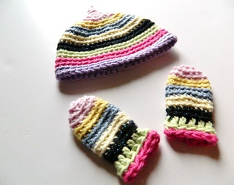 SALE COTTON Newborn Baby Girl Stripes Hat Mittens Set 0 2 months Colorful Crochet
