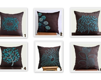 Turquoise Floral Throw Pillow Cover Set of 2, Mix and match Pillow, Dark Brown Linen Turquoise Teal Floral Embroidery, Modern Home Pillow