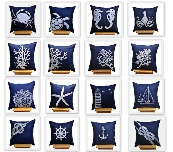 Throw pillow covers Nautical throw pillows navy pillow