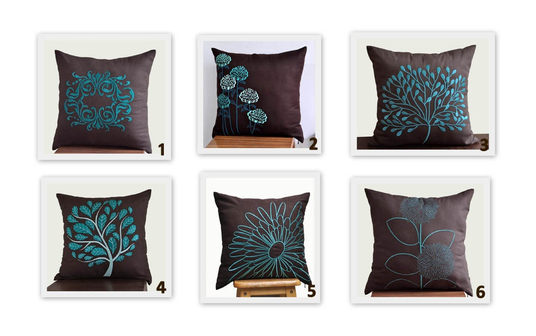 Throw Pillow Covers Set : Turquoise Floral Throw Pillow Cover Set of 2 Mix and match