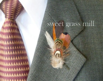 Pheasant Boutonniere - PEMBERLEY - Brown Soft Aqua Feather Buttonaire Brooch