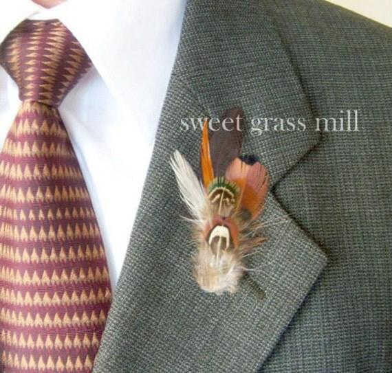 Pheasant Boutonniere - PEMBERLEY - Brown Soft Aqua Feather Buttonaire Brooch
