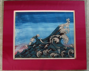 Ocean Wave,  Serigraph and Linoleum print.  Limited edition, Signed in pencil by the artist, framed in satin laminate