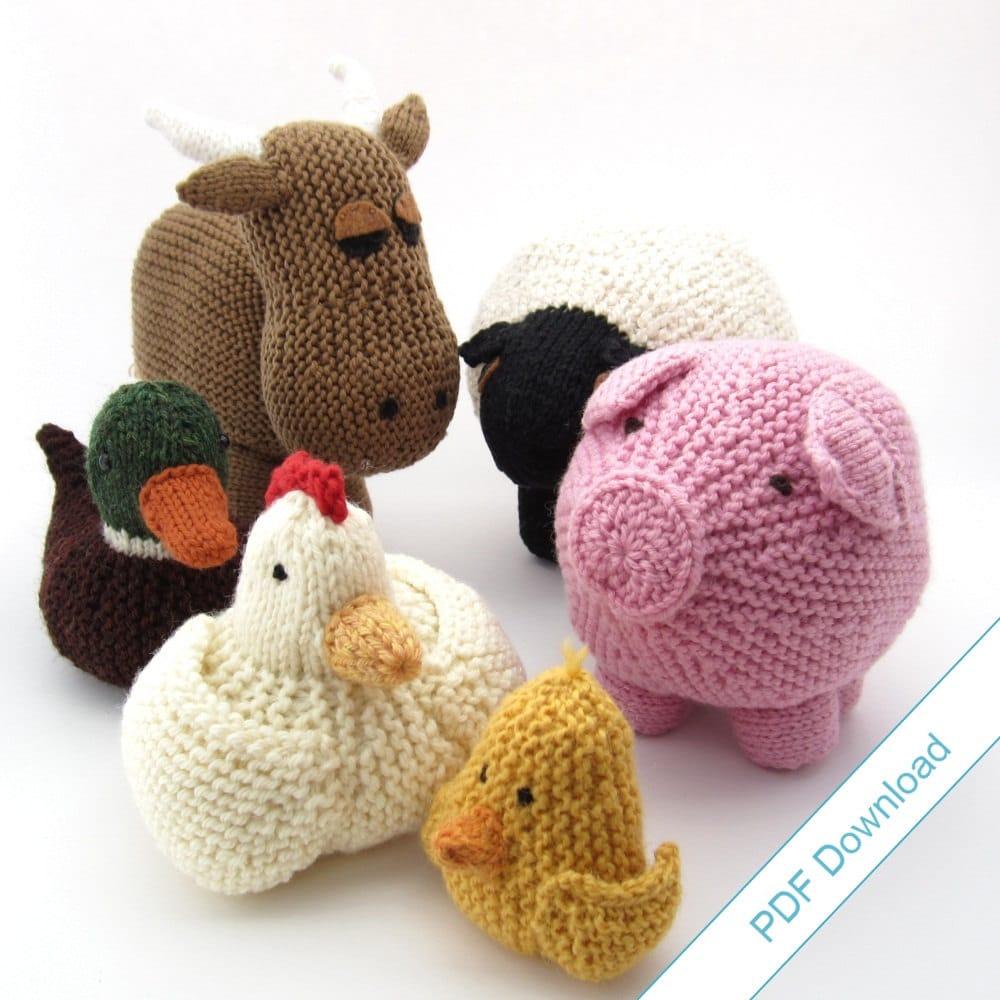 Knitting Patterns eBook. Farm Animal Toys. Around the