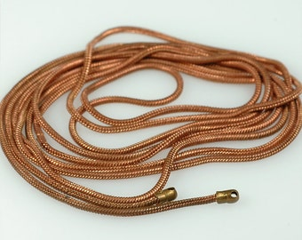 "Long 39 inch Antique solid COPPER round Snake Chain 1mm with end loops  - One 39"" vintage chain"