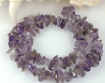 Shaded Amethyst Quartz chips beads - 8mm chips nuggets - purple to smoky grey - 12.5 inch strand