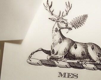 Personalized Deer, Stag, Elk , Monogrammed Note Cards Stationery for Men or Women with Envelopes Set 10 Ivory Deer Acorn for Him or Her