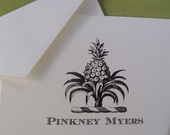 Pineapple Notecards Personalized Symbol of Hospitality Welcome Note Cards Stationery Set 10 Tropical Fruit Monogram Vintage Inspired Elegant