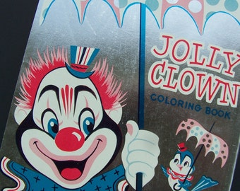Vintage Childrens Book 1957 Coloring Book Jolly Clown Saalfield Publishing Mint No Coloring Early Collectible 1950 Circus Images