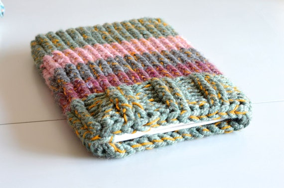 Knitted Laptop sleeve Macbook Sleeve 13 inch green grey mustard dusted pink
