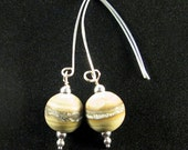 Fossil Ball Lampwork and Silver earrings