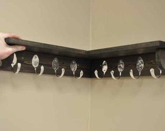 8 Spoon Hooks Coat Rack with Corner Shelf in Brown Black