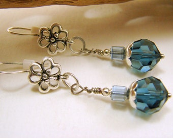 Montana Blue Swarovski Crystal and Sterling Silver Earrings