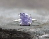 Iolite Sterling Silver Ring - Raw Uncut Rough Iolite - Purple Gemstone Ring - Raw Iolite Gemstone Ring