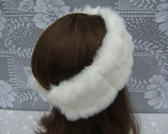 Women's Faux Fur HEADBAND, Fur Headwrap, Ear Warmer, Head Warmer, White Mink Fur Headband