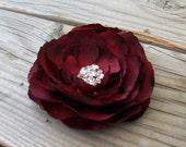Wine Ranunculus Flower Fascinator Hair Clip Bridal Head Piece Burgundy Brooch Pin, Cake Topper, Silk Flower Headband, Floral Corsage
