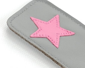 Leather Bookmark with Star Design, Gray