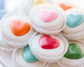 1 Doz RAINBOW HEARTS Chocolate Covered Oreos