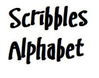 Instant Download - Scribbles Alphabet Filet Crochet Cross Stitch Pattern