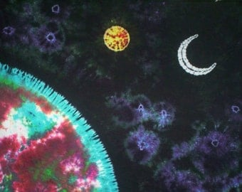 Floating Through the Universe Customizable Tie Dye Tapestry - 5ft Ht  X 6ft  Wd