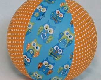 Balloon Ball - Blue Owl and Orange Polka Dots - Great kids toy as seen with Michelle Obama on Parenting.com