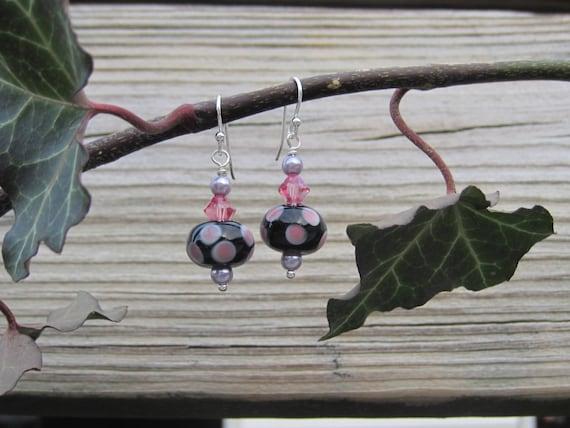 Polka Dot Earrings. Pink and Black Lampwork Sterling Silver Earrings.