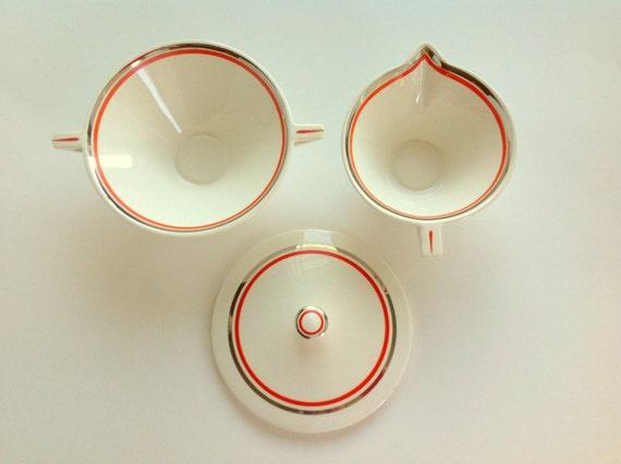 Atomic Art Deco Salem Streamline in Creamsicle w/ Platinum: Creamer & Sugar Bowl Set - RESERVED for Joel