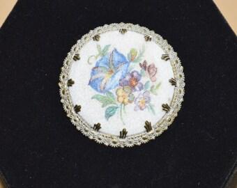Pretty Vintage Floral, Brass Brooch, Western Germany