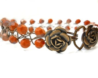 SALE Rust Brown Glass Bracelet, Beaded Wire Bracelet with Antiqued Bronze Flower Button Clasp, Braided Wire Jewelry