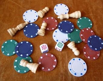 Game Pieces, Destash, Collection, Random Pieces, Poker Chips, Wood Chess Pieces, Dice, Art Supplies,Craft Supplies,Chess Pieces,Round Pieces