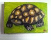 "Custom listing for Jennifer - 2 of 2 listings - 2.5x3.5"" oil painting of turtle"