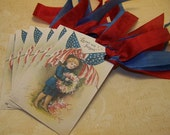 4th of July Tags Patriotic Tags Americana Tags Red White and Blue Vintage Style - Set of 6