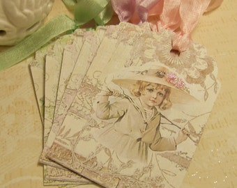 Tags for Children Maud Humphrey Children 's Tags Birthday Wish Tags Baby Vintage Style Set of 6