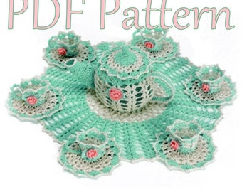 PDF Crochet Pattern- Tea Party Doily