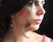 rainbow earrings in purple and olivine green heart crystals / art to wear
