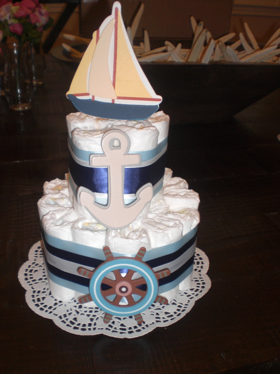 Nautical Sailboat Themed Diaper Cake Baby Shower Centerpiece